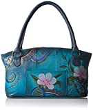 Anna by Anuschka Tote Bag | Genuine Leather | Wide, Denim Paisley Floral