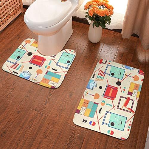 Bauhaus Furniture - Juego de 2 alfombras de baño de franela para baño, alfombrilla de ducha y alfombra de inodoro en forma de U, antideslizante, absorbente
