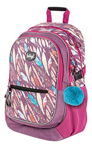 Baagl Schulrucksack für Mädchen - Schulranzen für Kinder mit ergonomisch geformter Rücken, Brustgurt und reflektierende Elemente (Feathers)