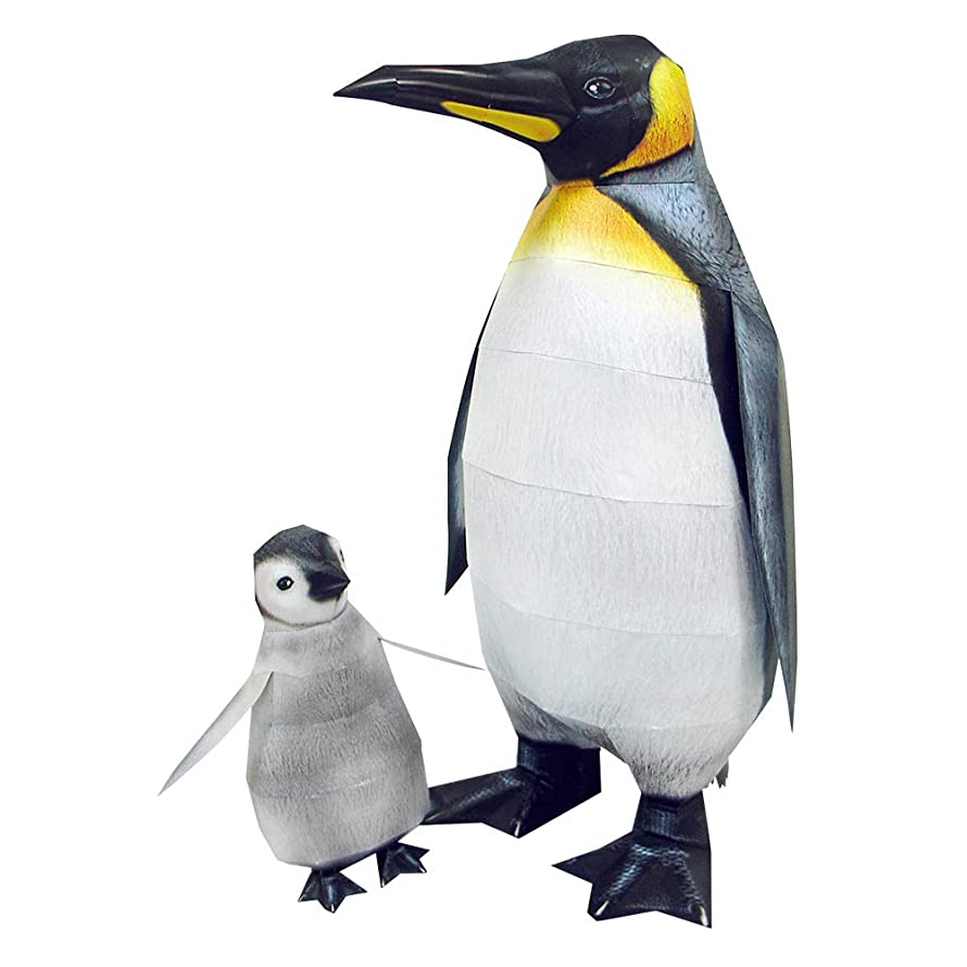 HAPPYPAPER Wild Animal Emperor Penguin Low Poly DIY Papercraft Puzzle Kit for Adults & Teens - NO Scissors Needed