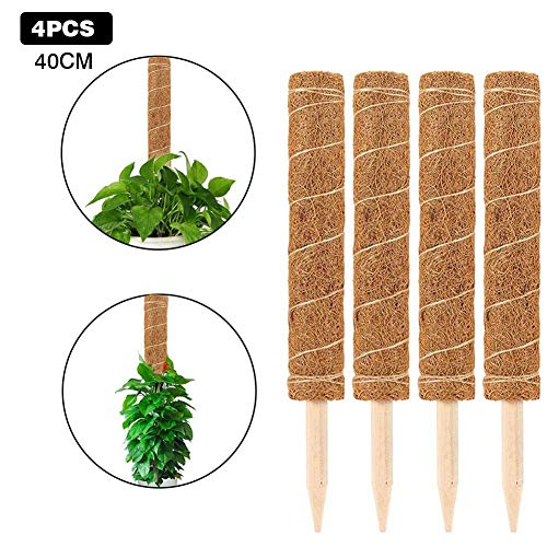 pflanzstab kokos rankstab, Rankhilfe Blumenstab Kokosstab Coir Totem Pole Coir Moss Stick für Creepers Plant Support Extension Climbing Zimmerpflanzen, aus natürlicher Kokosfaser, verlängerbar