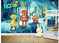 漫画サイエンスフィクションボールアドベンチャーロボットエイリアン子供部屋背景壁-150Cm×105Cm