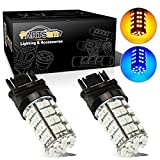 Partsam 1Pair 3157 3156 3155 4157 Switchback LED Bulbs Front Turn Signal Light Dual Color Blue Amber/Yellow 60-Epistar-SMD Chip Led Turn Signal Light