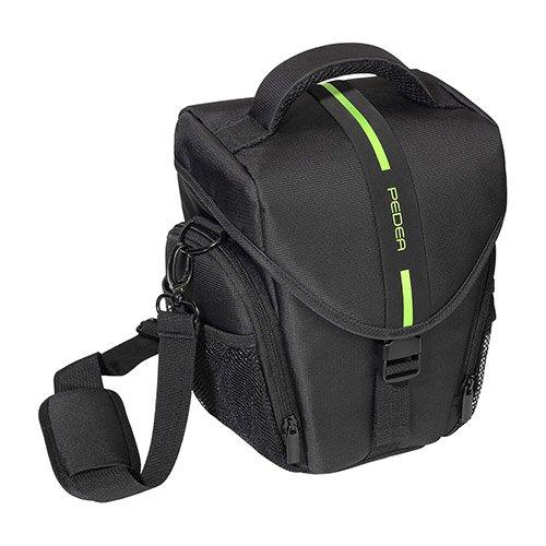 PEDEA SLR Kameratasche für Sony Alpha 7R, Alpha 7s, SLT-A57, SLT-A77V / Panasonic Lumix DMC-FZ72 / Olympus E-M5 OM-D (Größe L, Frontloader) schwarz/grün mit Displayschutzfolie