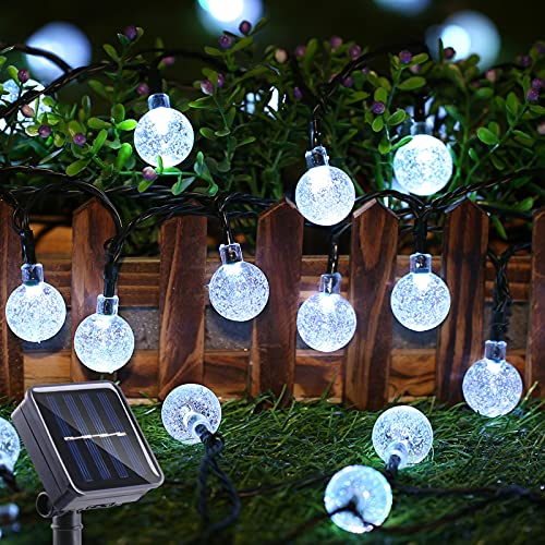 Toodour Solar String Lights 50 LED 29.5ft Solar Patio Lights with 8 Modes, Waterproof Crystal Ball String Lights for Patio, Lawn, Party, Wedding, Garden, Easter Decorations (White)