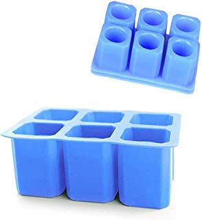 Ice Shot Glass Mold, 2 Pack 6-cups Square Blue Ice Cube Tray, Jelly Tray, Cake Cup Mold, Food Grade Silicone Ice Shot Mould for Christmas Party -Blue