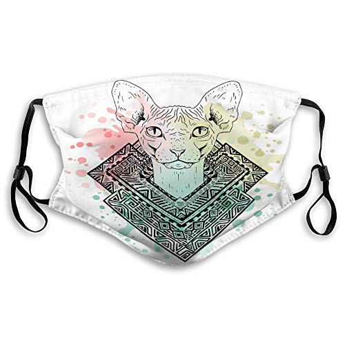 KENT HILL Unisex Mouth Mask Reusable Face Mask Black White Animal cat Head Watercolor Art Doodle Sketch Sphynx Outlines pet Bag Skiing Cover
