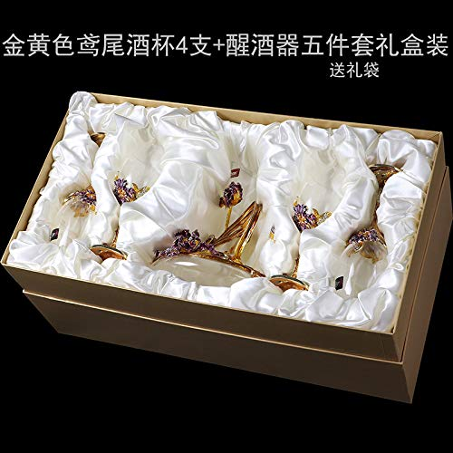 Loroude Red wine glass Red wine glass red wine decanter set high foot cup wedding, iris gold five-piece gift box