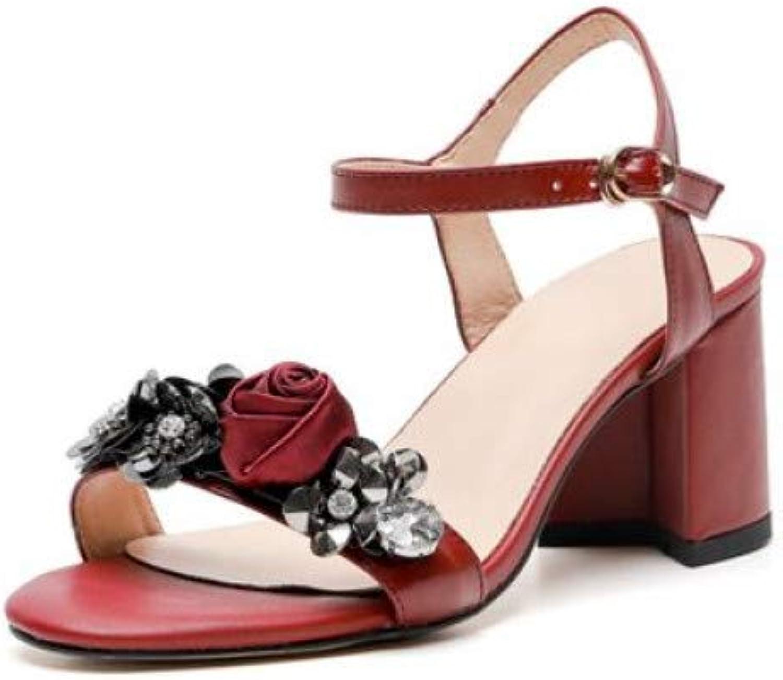 rot LIU Neue Marke echteSchuhe Schnalle Strap Frauen Sandalen Platz high Heels Blaumen Damen Sommer Schuhe weiblich 2019