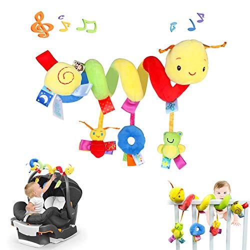 WELLXUNK 50cm Juguete para Cochecito de Bebé,Espiral Bebe Cochecito Juguete,Espiral Actividades Bebe,Peluche Cochecito Toys,Juguetes Colgantes Espiral,Juguetes de Peluche Colgantes de Actividad