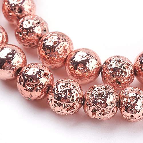 Beadthoven 5 hilos de cuentas de lava natural galvanizadas de 8 mm de oro rosa con cuentas redondas de piedra para mujeres, hombres, pulseras, agujero: 1 mm