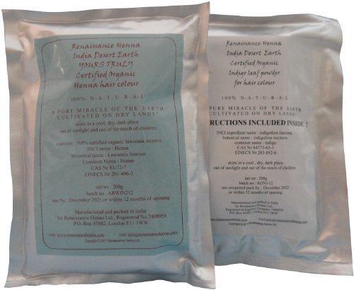 Recommandé par Leader Dermatologie Cliniques Au dessus des GB : Organique Coloration Cheveux by Renaissance Henna, henné Teinture & Indigo Naturel pour marron et noir (200g + 200g), PPD Gratuit