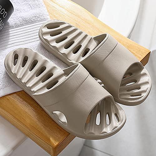 Antideslizante Zapatillas Baño,Sandalias y pantuflas huecas con fugas para el baño en el hogar para hombres, antideslizantes, desodorantes y pantuflas para el hogar de secado rápido-43-44EU_grey