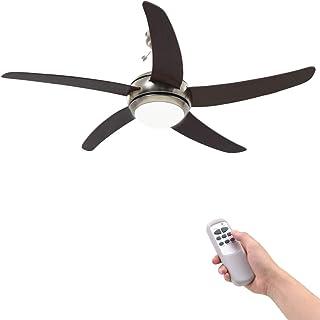 vidaXL Ventilador de Techo Adornado con Lámpara 128 cm Marrón Climatización
