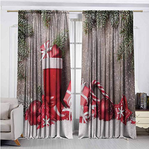 Christmas Blackout Curtains Xmas Background with Gift Boxes on Wooden Board Countryside Celebration Image Thermal Insulated Room Darkening Curtain for Living Room Brown Red W48 x L108 Inch x2