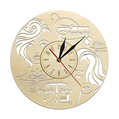 Reloj de Pared de Madera para peluquería decoración rústica para el hogar Letrero de peluquería salón de Belleza Reloj Decorativo para peluquería 12 Pulgadas