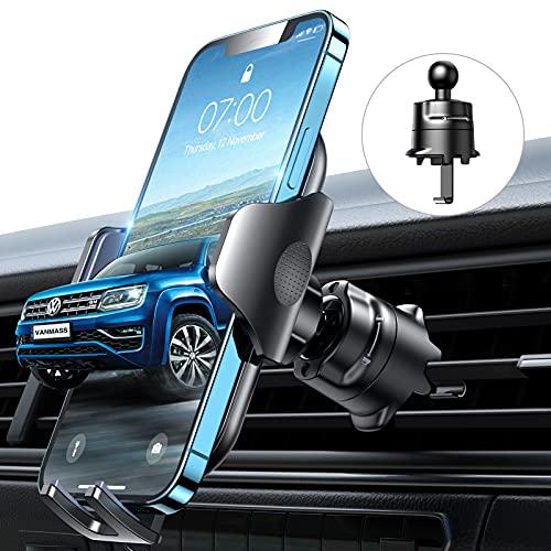 VANMASS Kfz Handyhalterung Auto Lüftung [Hält Bombenfest] mit Stabilem Lüftungshaken 360°Drehbar 100prozent Silikonschutz Smartphone Halterung Auto für Alle Handys und Autos iPhone 11 12 Samsung Huawei Xiaomi
