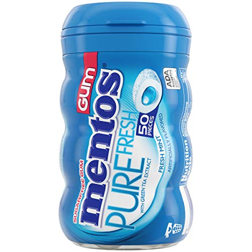 Mentos Pure Fresh Sugar-Free Chewing Gum with Xylitol, Fresh Mint, 50 Piece Per Bottle