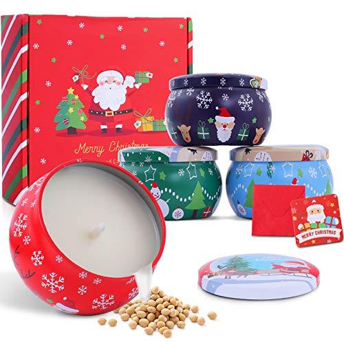 FUMUM Candele Profumate Natalizie di alta qualità per l'Avvento, candele di Natale, per il periodo dell'Avvento, Natale, compleanno, San Valentino, [25 - 35 ore bruciano da 4,4 oz] - 4 confezioni