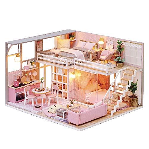 Lixibei Pink Doll House Puzzle Juego, Dar un Regalo de niña Juntos para Pasar un Maravilloso Padre-niño Tiempo de cumpleaños y Vacaciones Presente (con música, Luces)