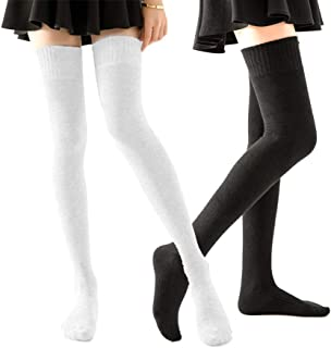 HOMERIT Plus Size Thigh High Socks Extra Long White Black Sock For Women Cotton Over The Knee High Boot Stockings Knit Leg Warmers Daily Wear, Black White, 15 X 10 X 5 CM