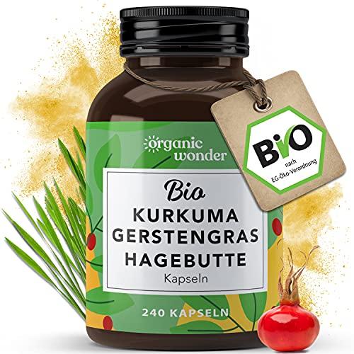 Bio Kurkuma Gerstengras Hagebutte Kapseln (240 x 500 mg) hochdosiert, 4-Monatspackung, vegan, ohne Zusätze, AT-BIO-402