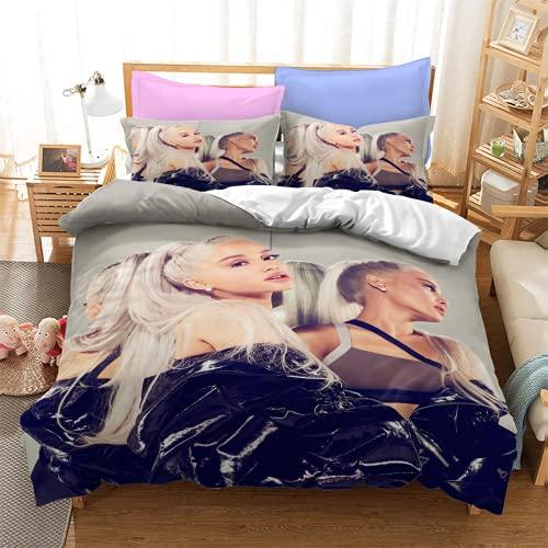 YYXPDD Ariana Grande - Juego de ropa de cama y funda nórdica de 3 piezas, 100% microfibra, fácil de cuidar y cálida decoración para dormitorio (Ariana 2,140 x 210 cm + 80 x 80 cm x 2)