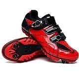 Zapatillas de Bicicleta MTB Pro para Hombre,Zapatillas de Bicicleta de Montaña SPD Zapatillas de Bicicleta de Carretera Zapatillas de Ciclismo Al Aire Libre Transpirables,Red-EU37