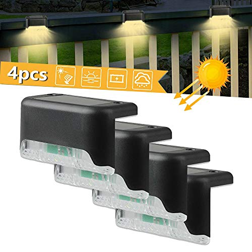 HY 4pcs LED Solare Luce della Piattaforma Lampada Scala Cortile Cortile Impermeabile lampade a Parete Luce Solare Recinzione per Percorso Esterno Cortile Patio Scale