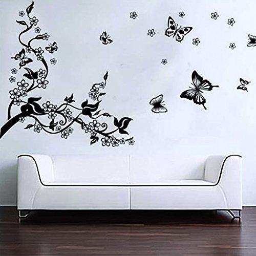 Kingtoys Adesivo Murale Fai da Te Albero Romantico e Farfalle Decorazione Adesivo da Pareti Muri per Camera da Letto Soggiorno Removibili Adesivi da Parete