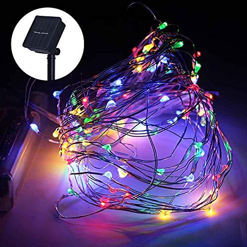 Luces de hadas solares Lámpara de alambre de cobre Luces de Navidad IP68 Impermeable para jardín Fiesta de bodas de Navidad Luz intermitente 10M 100LED, Luz de color