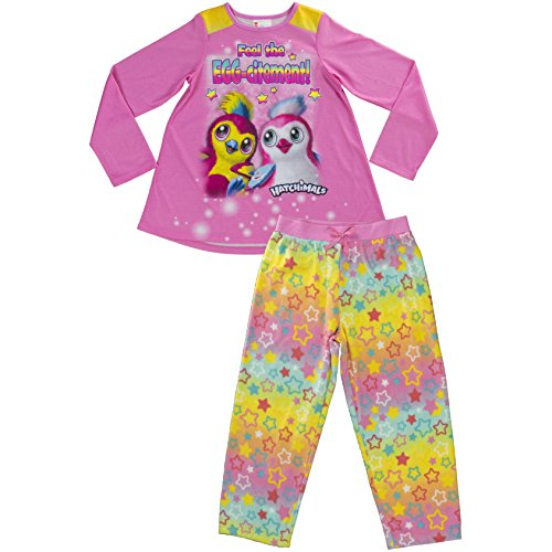 Hatchimals Girls' Little 2-pc Pajama Set, Long Sleeve W/Pant, Pink, 10/12