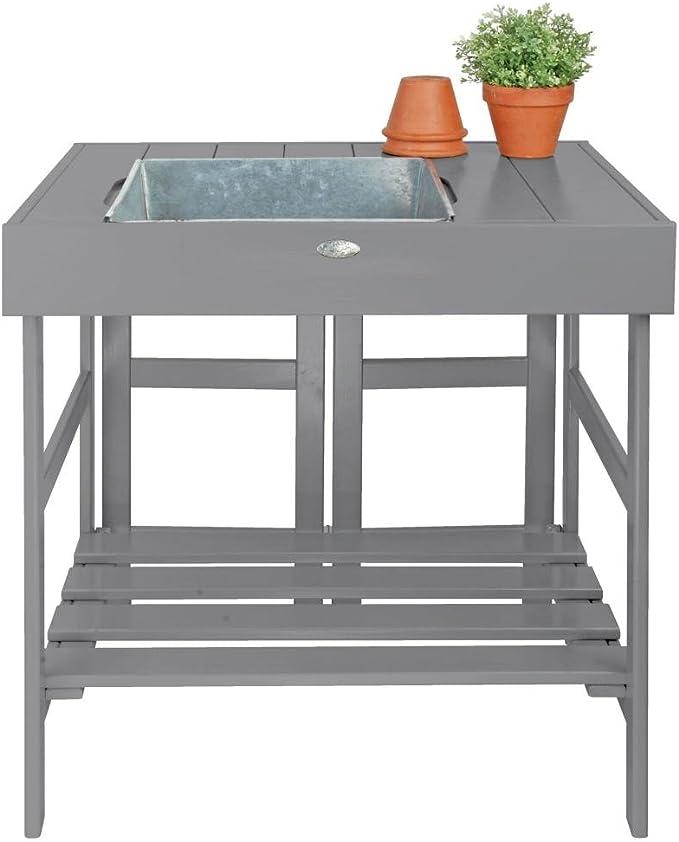 Pflanztisch mit Wanne - Esschert Design Pflanztisch grau