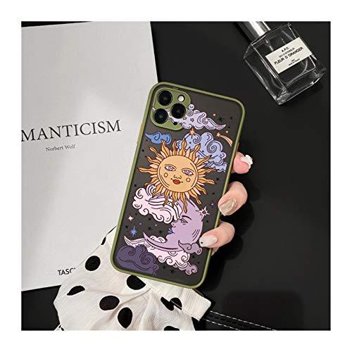 KEHUITONG PSWK Jamular Funny Sun Moon Face Funda a Prueba de Golpes para iPhone 11 / Pro / 12/7 / XS/MAX/X/XR / SE20 / 8 / Plus TPU Matte CUCHE CUBIERTE (Color : Style 6, Material : For iPhone 6 6s)