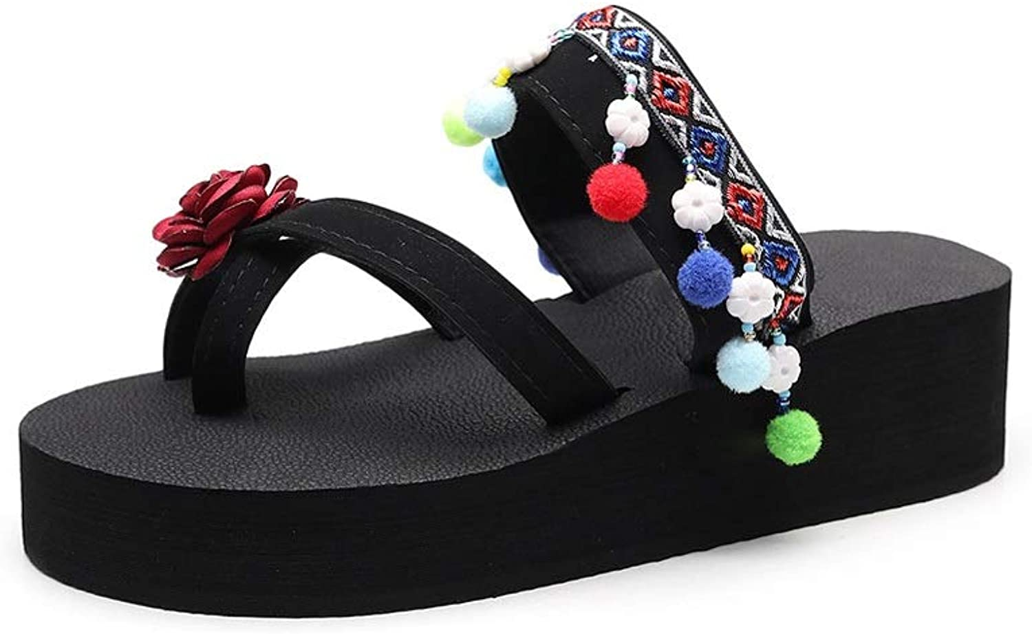 Ailj Women's Summer Sandals, Large Size Sandals Ethnic Style Retro Flip-Flops Outdoor Skid Network Red Man Toe Beach shoes Black