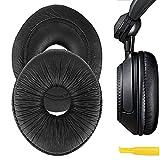 Geekria QuickFit Protein Leather Replacement Ear Pads for Panasonic Technics RP-DJ1200, RP-DJ1205, RP-DJ1210 Headphones Earpads, Headset Ear Cushion Repair Parts (Black)