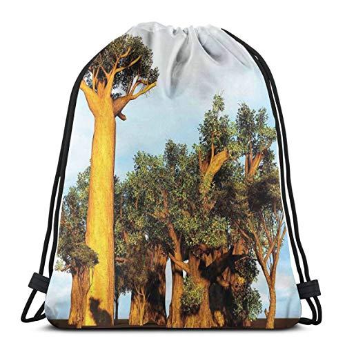 Jiger Trekkoord Tas Gym Tassen Opslag Rugzak, Afrikaanse Baobab bomen Oosterse Flora Fotografie Inheemse Planten, Zeer Sterke Premium kwaliteit Gym Bag voor volwassenen en kinderen