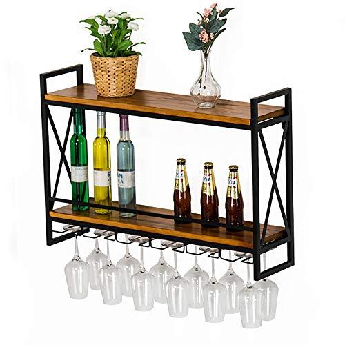 JHGJBJ Metallweingestell, Industrie Stil Schmiedeeisen Wand hängende Weinglashalter, Massivholz zweischichtigen Weingestell mit Weinglas Trog (Size : 60cm)