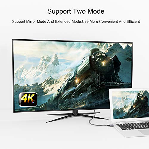 QGeeM USB C to Mini DisplayPort, 4K@60Hz Braided 6ft USB 3.1 Type C to Mini DP Cable for MacBook Pro 2017/2016, Surface Book 2, Galaxy S8 S9(Not Support Thunderbolt2, Any Monitor or HDD) (Black)