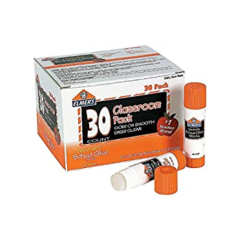 Fun Express Elmers Classroom Pk of Glue Sticks-Clear - 30 Pieces - Educational and Learning Activities for Kids