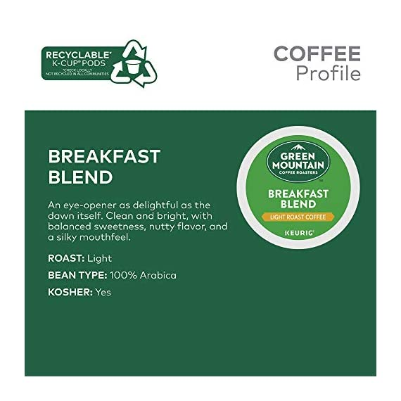 Green Mountain Coffee Roasters Breakfast Blend, Single-Serve Keurig K-Cup Pods, Light Roast Coffee, 72 Count 2 Taste: an eye-opening Decaf as delightful as the dawn itself. Clean and bright, with balanced sweetness, nutty flavor, and a silky mouthfeel. Roast: light roast, 100% Arabica decaffeinated coffee and is certified Orthodox Union Kosher (U) Sustainability: committed to 100% responsibly sourced coffee by end of 2020