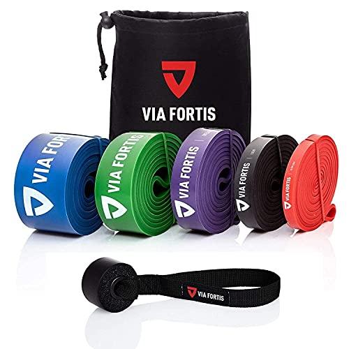 VIA FORTIS Oferta: Banda Elástica de Resistencia Cuerda de Fuerza para Fitness, Crossfit, Pilates, Estiramientos| Incluye Bolsa de Transporte | 5 Niveles de Resistencia Diferentes (2 - Light (Negro))