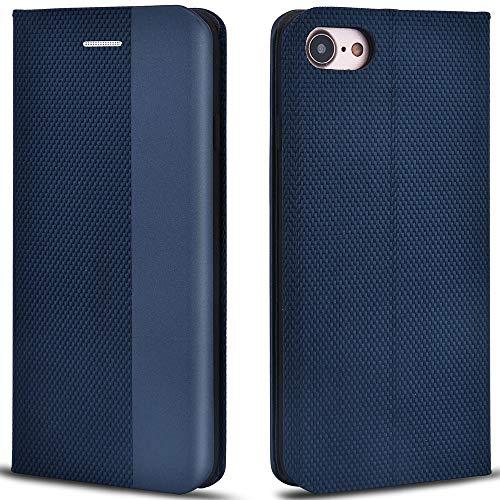 Aicoco Schutzhülle für Apple iPhone 7/8 4,7 Zoll Leder Hülle Flip Hülle Handyhülle - Blau