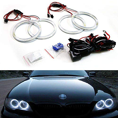 iJDMTOY 7000K Xenon White 240-SMD LED Angel Eyes Halo Ring Lighting Kit Compatible With 2004 2005 2006 BMW E46 3 Series 325ci 330ci LCI Coupe ONLY