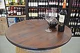 'Temesso' - Der besondere Garten Holz Tischplatte Nussbaumoptik D80 cm - 3fach verleimte Fichte (Nussbaum)- mit Bohrung