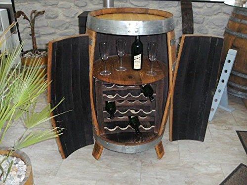 JUNIT Fassbar - Korsika aus 225/300 Liter gebrauchtem Eichenfass Getränkeschrank Flaschenschrank Flaschenregal Bar