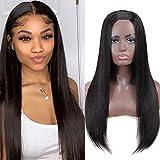 U Part Wig Human Hair Wigs for Black Women Straight Human Hair Wigs 100% Brazilian Glueless Full Head U-part Hair Extension Clip in Half Wig (14 inch)