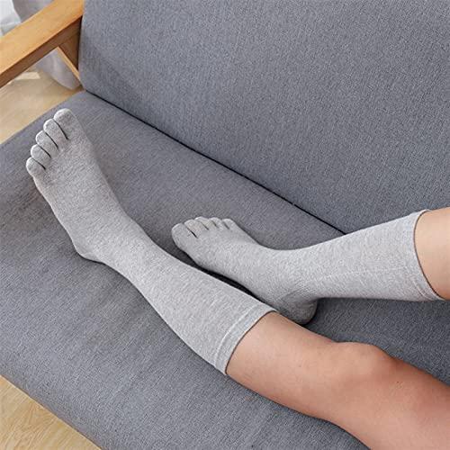 Calcetines de tubo largo de algodón con 5 dedos para las mujeres calcetines de las señoras de las señoras Color sólido transpirable medio becerro alto calcetines ( Color : Grey , Size : One Size )