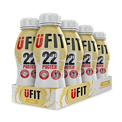UFIT High 22g Protein Shake, No Added Sugar, Low Fat – Banana Flavour Ready To Drink (Pack of 8 x 310ml)