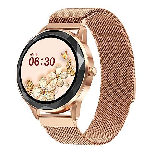 QFSLR Smartwatch, Reloj Inteligente para Mujer Niños, Pulsera De Actividad Inteligente con Entrenamiento Respiratorio Ciclo Menstrual Femenino Monitor De Sueño Pulsómetros,Oro